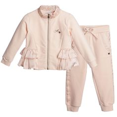 Little girls, pretty pink two piece tracksuit by Armani Junior made from soft cotton jersey sweatshirt fabric, with slight stretch. The top has a high neck with a zip-up front and the designer's 'A' logo in brown diamante gems. Around the waist is a cute, satin peplum that matches the trim on the cuffs. The trousers have a stretchy, elasticated waistband with a bow and matching satin trim on the cuffs. <br /> <ul> <li>95% cotton, 5% elastane (soft jersey with a fleece underside)</l...