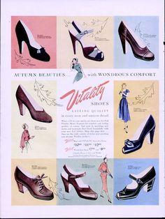 Building a Vintage Wardrobe: Shoes / Va-Voom Vintage   Vintage Fashion, Hair Tutorials and DIY Style 1950 Shoes, Shoes Ads, Retro Shoes, Vintage Shoes, Vintage Outfits, Women's Shoes, Vintage Makeup, Buy Shoes, Fall Fashion Trends
