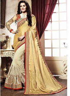 Beige Cream Chiffon Georgette Party Wear Saree  #sarees online #party wear #designer saree #half and half saree