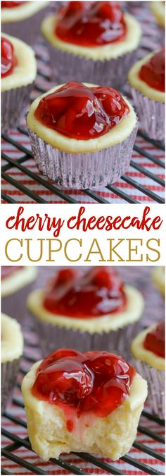 Cheesecake Cupcakes - Lil' Luna Simple and DELICIOUS Cherry Cheesecake Cupcakes - a great dessert perfect for any occasion!Simple and DELICIOUS Cherry Cheesecake Cupcakes - a great dessert perfect for any occasion! Cheesecake Recipes, Cupcake Recipes, Snickers Cheesecake, Cupcake Cakes, Dessert Recipes, Cherry Cheesecake Bites, Muffin Cupcake, Mini Cheesecakes, Great Desserts