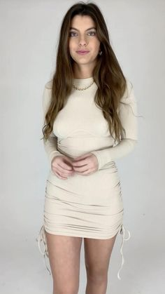 Cute Skirt Outfits, Cute Skirts, Girls Fashion Clothes, Girl Fashion, Fashion Outfits, Hoco Dresses, Tight Dresses, Ruched Dress, Bodycon Dress