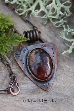 Forged Copper & Jasper Necklace Rustic Necklace Mens