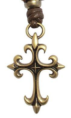 BDJ Gothic Fleur De Lis Cross Antique Bronze Charm Pendant Adjustable Cord Necklace 16 (GXBzPN09) by Bijoux De Ja -- Awesome products selected by Anna Churchill