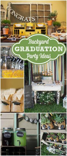 Here's a trendy, masculine outdoor graduation party! See more party ideas at Cat. Here's a trendy, masculine outdoor graduation party! See more party ideas at Cat… Outdoor Graduation Parties, Graduation Party Planning, College Graduation Parties, Graduation Celebration, Graduation Decorations, Graduation Party Decor, Grad Parties, Graduation Ideas, Graduation Centerpiece