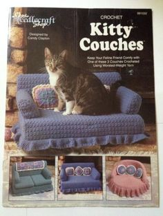 KITTY COUCHES Crochet Pattern Booklet Cat Bed Sofa Pillows Mini Afghan - So feline chic!
