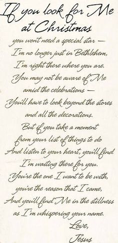 """If You Look for Me at Christmas"" ~ wonderful poem for Christmas"