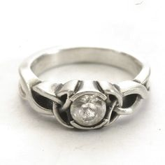 Celtic Engagement Ring With White Clear Sapphire Stone by Spoonier, $60.00