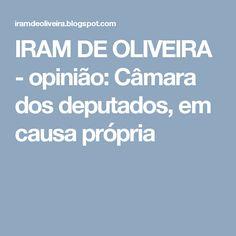 IRAM DE OLIVEIRA - opinião: Câmara dos deputados, em causa própria