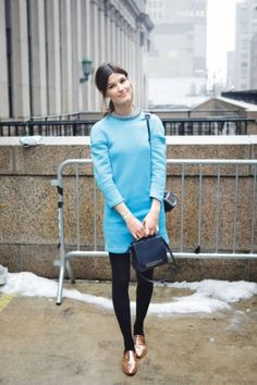 simple colourful dress and simple little black bag