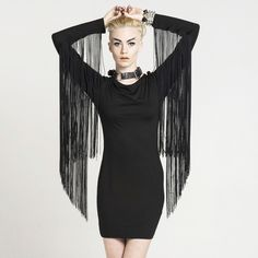 BLACK HUNTRESS FRINGE DRESS