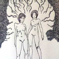 #fear #nude #girls #forest #tales  FlyDesign #illustration