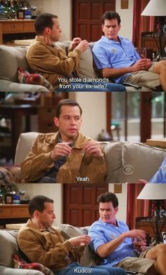 funny 2 and a half men pictures! Vintage Funny Quotes, Cute Funny Quotes, Funny Quotes About Life, Two And Half Men, Half Man, John Cryer, Funny Images, Funny Pictures, Men Tv