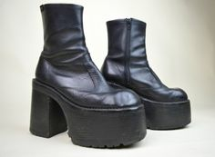 90s Rare Grunge Goth Clubkid Black Leather Classic by MICROMALL