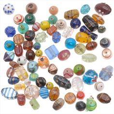 1/2 POUND LAMPWORK GLASS BEADS MIX ASSORTED STYLES SIZES from beadaholique.com