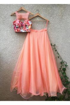 Peach Metallic Foil Print Cutout Blouse Teamed With Peach Organza Skirt (With Cancan) Indian Gowns Dresses, Indian Fashion Dresses, Dress Indian Style, Indian Designer Outfits, Fashion Outfits, Party Wear Lehenga, Party Wear Dresses, Lehenga Wedding, Indian Wedding Outfits
