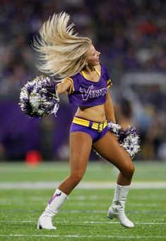 A Minnesota Vikings cheerleader performs during the first half of an NFL football game between the Vikings and the Green Bay Packers Sunday, Sept. Vikings Cheerleaders, Hottest Nfl Cheerleaders, Football Cheerleaders, Cheerleading, Buccaneers Cheerleaders, Cheer Stunts, Nfl Vikings, Minnesota Vikings Football, Pittsburgh Steelers