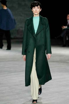 Creatures of the Wind | Fall 2014: Forest green with aqua and cream. Bookended shoes. Angular lines. Love.