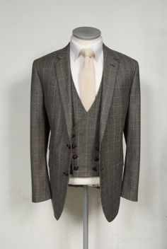 Country check pure wool made to measure 3 piece wedding suit. Ideal grooms suit. Perfect for country vintage themes #groom #wedding #suit #brown #waistcoat
