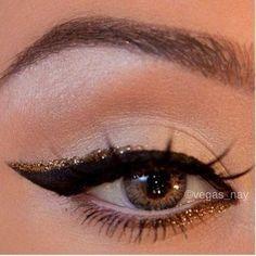 Golden Shimmer with black eyeliner