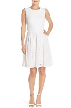 Free shipping and returns on Maggy London Lace Fit & Flare Dress at Nordstrom.com. A versatile little white dress is crafted from gorgeous floral lace and designed to flatter with a fitted bodice and eyelet godet-insets that enhance the swingy skirt.