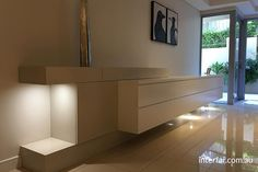 Entertainment Units | Interfar - Residential - Low line 2 tiered media entertainment unit with feature lighting