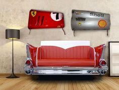 Ferrari Grand Prix Race Car Fender Panel Wall Art Handmade by the Artist Frank Moenikes.