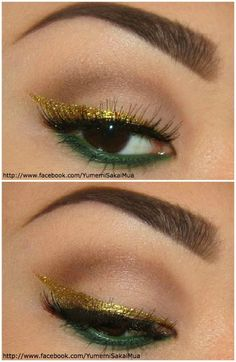 Apply primer. Carefully draw out a cat shaped liner with gold eyeliner (Rhyme by Lime Crime). Apply a medium brown in the crease and blend. Then a cream shadow on the lid. Apply a forrest green eyeliner on the waterline and the lower lashline. Then apply Peacock (MUG Shadow) on top. Apply mascara and false [...]