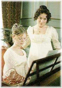 Lizzie (Jennifer Ehle) and Georgiana Darcy (Emilia Fox), Pride and Prejudice Jane Austen. Darcy Pride And Prejudice, Emilia Fox, Jennifer Ehle, Jane Austen Movies, Elizabeth Bennet, Mr Darcy, Colin Firth, Period Dramas, I Movie