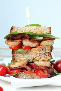 Spicy Chipotle Shrimp BLTs by bakerbynature #Sandwich #Shrimp #BLT