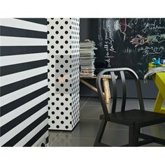 Stripes, dots and is that a chalkboard wall we see in the background?  Too fun.