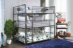 Furniture of america Olga I collection triple full bed full over full over full antique black metal frame industrial bunk bed Full Bunk Beds, Kid Beds, Industrial Bunk Beds, Piping Design, Sports Bedding, Triple Bunk, Bed With Drawers, White Rooms, Bed Styling