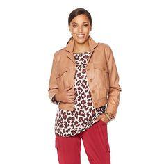 Serena Williams Faux Leather Utility Jacket - Tan