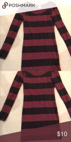 Black and maroon striped bodycon dress Black and maroon stripes. Bodycon mini dress. Good condition. Runs small. H&M Dresses Mini
