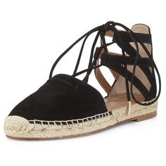 Aquazzura Belgravia Suede Closed-Toe Espadrille Sandal ($495) ❤ liked on Polyvore featuring shoes, sandals, flats, espadrilles, sapatos, black, shoes flats espadrille, black lace up sandals, black espadrilles and black flat shoes