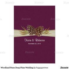 Woodland Pines Deep Plum Wedding Card