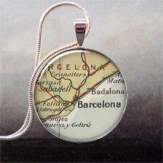 Barcelona map pendant Barcelona necklace by thependantemporium, $9.25