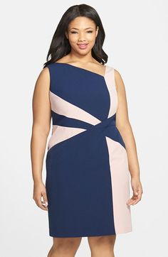 Adrianna+Papell+Colorblock+Sheath+Dress+(Plus+Size)+available+at+#Nordstrom