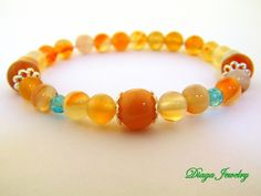 Orange Agate and Ruby Bracelet