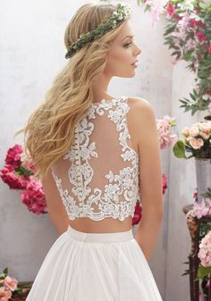 Designer Wedding Dresses and Bridal Gowns by Morilee. This Two-Piece Boho Wedding Gown Features a Crystal Beaded, Embroidered Bodice with Net Skirt. Boho Wedding Gown, Two Piece Wedding Dress, Wedding Dresses Plus Size, Bridal Wedding Dresses, Boho Bride, Wedding Dress Styles, Designer Wedding Dresses, Wedding Dress Crop Top, Blush Gown