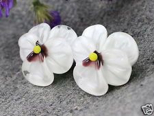 Glass Lampwork Beads - 2 pc Handmade Glass Pansy Bead for Earrings, Sculpted