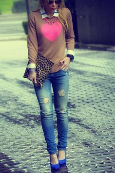 REITERAN. Clare Vivier leopard, distressed denim, Ray Ban glasses and heels Fergie