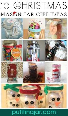 Here are 10 excellent craft ideas for Christmas gifts you can make yourself using mason jars and a little bit of creativity! 10 DIY Mason Jar Christmas Gift Craft Ideas & Tutorials | via putitinajar.com by tabatha