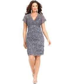 Marina Plus Size Cap-Sleeve Lace Cocktail Dress | macys.com