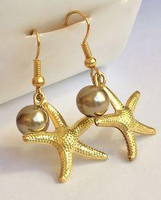 Gold Plated Pearl Starfish Earrings Pierced Sea Life Beach Island Dangle USA #Unbranded #DropDangle
