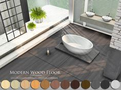Modern Wood Floor by Pralinesims at TSR via Sims 4 Updates