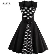 Barato Zaful Nova S 4XL Mulheres Moda Polka Dot Vestido Do Vintage 1950 s  60 s