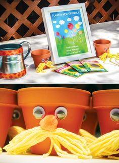 Lorax Truffula Tree Plant Craft...I ADORE this idea!  Such an amazing Lorax birthday party...so many great ideas here!!!