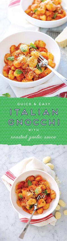 "So simple! // ""Italian Gnocchi with Roasted Garlic Sauce"""