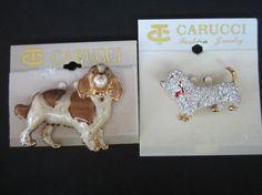 Carucci Crystals Cavalier King Charles Spaniel & Dachshund Dogs Pins Brooch