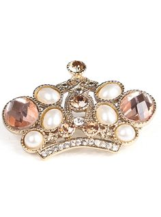 Gold Diamond Imperial Crown Brooches US$8.89